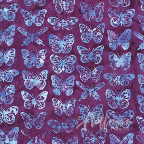 HOFFMAN - Bali Batik - Butterflies - Magenta K1320-