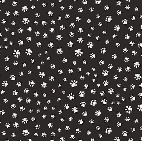 TIMELESS TREASURES - Pet Sketch - Sketched Paw Prints - Black