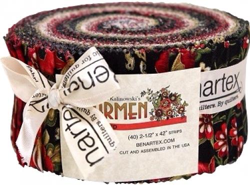 Benartex - Carmen Black/Red Pinwheel by Maria Kalinowski