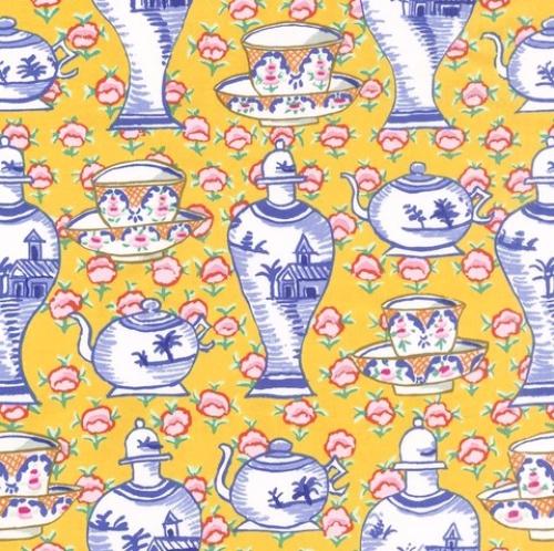 FREE SPIRIT - Kaffe Fassett Collective - Fall 2017 - Delft Pots - Blue/Yellow