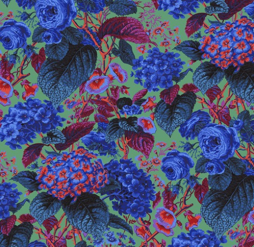FREE SPIRIT - Kaffe Fassett Collective - Spring 2019 - Rose And Hydrangea - Blue