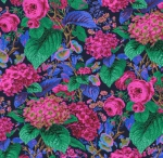 FREE SPIRIT - Kaffe Fassett Collective - Spring 2019 - Rose And Hydrangea - Navy