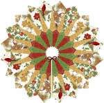 Tree Skirt - Natural with Pattern Quilted Fox Design