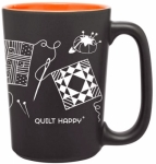 Quilt Happy ORANGE Scribbles Mug