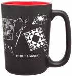 Quilt Happy RED Scribbles Mug