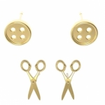 Button Scissors Earrings Set 2 ct Gold by The Quilt Spot