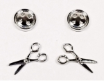 Button Scissors Earrings Set 2 ct Silver by The Quilt Spot