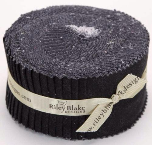 Riley Blake - Black - Tone On Tone 2.5 Inch Rolie Polie 40pcs