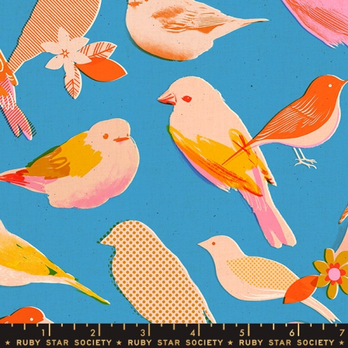 MODA FABRICS - Ruby Star Society - Social - Bright Blue - Birds