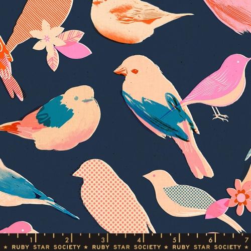 MODA FABRICS - Ruby Star Society - Social - Navy - Birds