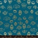 MODA FABRICS - Ruby Star - Purl Tea Time - Teal - Metallic
