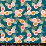 MODA FABRICS - Ruby Star - Purl Embroidered Floral - Teal - Metallic
