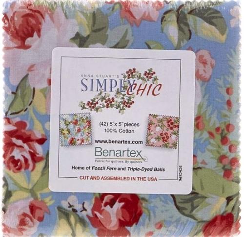 Benartex - Simply Chic by Anna Stuart 5x5 Charm Pack