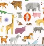 KAUFMAN - A To Z Animals - White