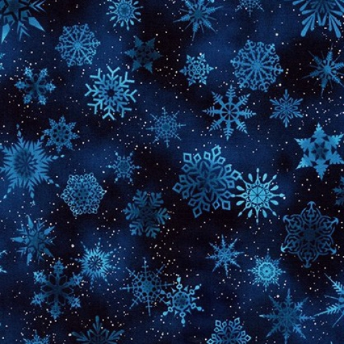 KAUFMAN - Winter's Grandeur Metallic 7 - Navy