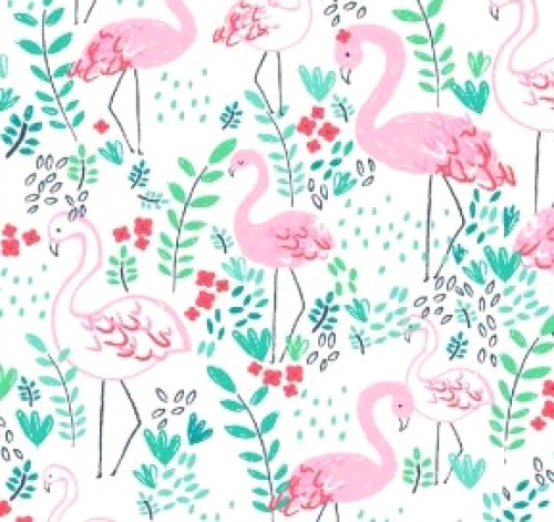 DEAR STELLA FABRICS - Let's Flamingle - White -