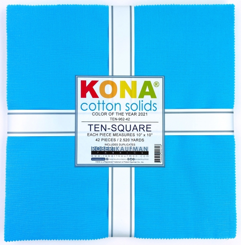 Kaufman - Kona Horizon Color of the Year 2021 Ten Inch Squares 42 pcs