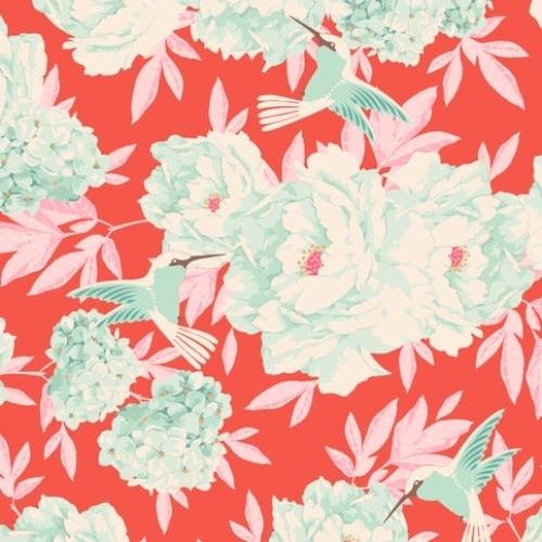 TILDA FABRICS - Lemon Tree - Hummingbird - Coral #5