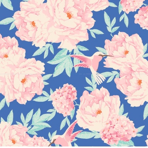 TILDA FABRICS - Lemon Tree - Hummingbird - Blue
