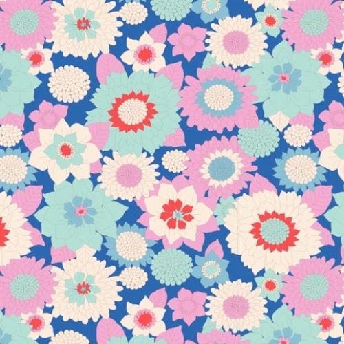 TILDA FABRICS - Lemon Tree - Boogie Flower - Blue #7