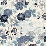 ANDOVER - Indigo by Makower - Floral Montage White
