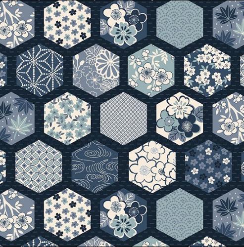 ANDOVER - Indigo by Makower - Hexagons Blue