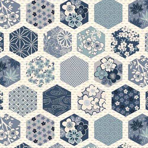 ANDOVER - Indigo by Makower - Hexagons White