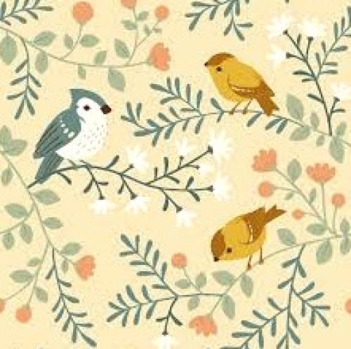 BIRCH FABRICS - Best of Teagan White - Birds and Branches Cream