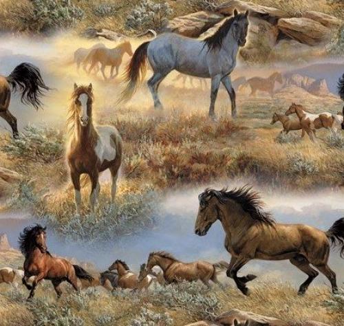 DAVID TEXTILES - Horses in the Prairie - Multi