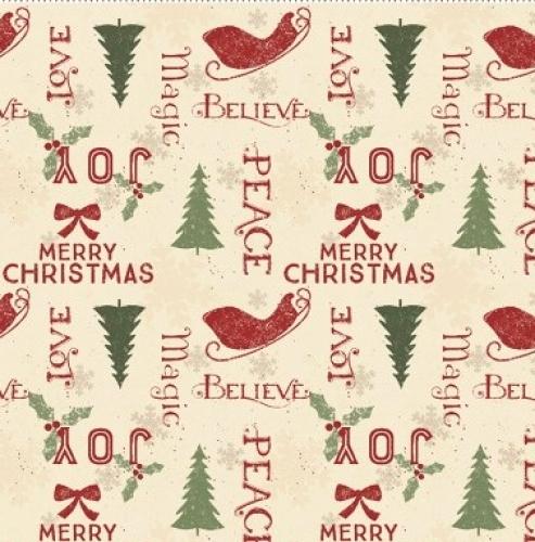 CLOTHWORKS - Home For Christmas - Words Cream