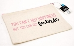 You Can't Buy Happiness...Large Canvas Zipper Bag by Riley Blake Designs