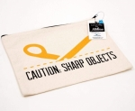 CAUTION: Sharp Objects Large Canvas Zipper Bag by Riley Blake Designs